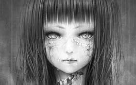 Обои девушка, дождь, art, bouno satoshi