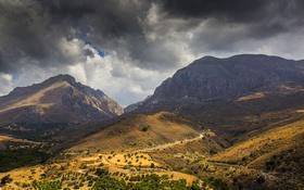 Обои облака, горы, остров, Греция, долина, Крит, Crete