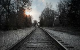 Обои пейзаж, перспектива, железная дорога