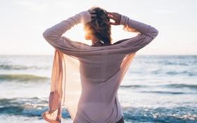 Картинка волны, девушка, солнце, спина