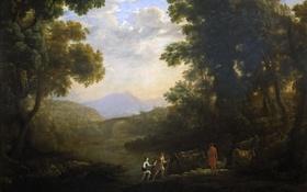 Обои картина, Клод Лоррен, Речной Пейзаж с Пастухами