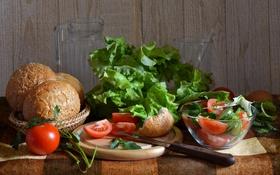 Обои хлеб, овощи, помидоры, салат