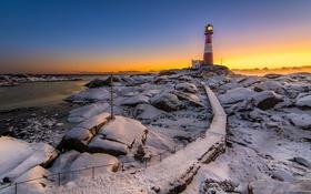 Обои зима, море, маяк