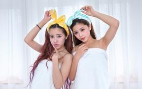 Картинка фон, девушки, волосы, лица, полотенца