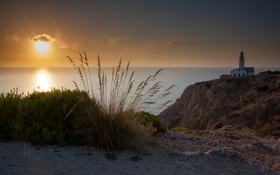 Обои море, Maljorca, маяк, Spain, закат