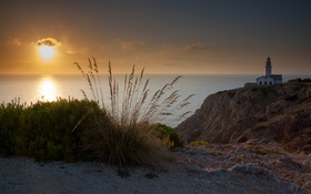 Обои море, закат, маяк, Spain, Maljorca