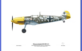 Обои military, illustration, avion, josef Priller bf 109