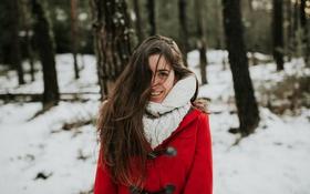 Картинка девушка, улыбка, пальто, Miriam
