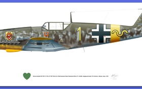 Картинка military, illustration, avion, 109 bf f