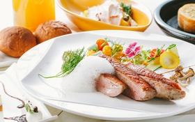 Обои мясо, овощи, соус, декор
