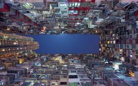 Картинка небо, ночь, дома, Гонконг, Китай, балкон