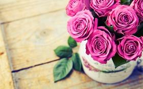 Обои ваза, розовые, Roses, розы