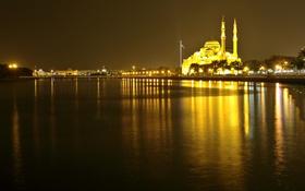Обои ночь, огни, мечеть, ОАЭ, минарет, Шарджа