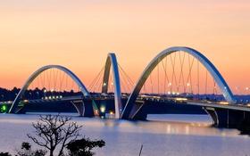 Обои огни, вечер, Бразилия, озеро Параноа, мост Жуселину Кубичека