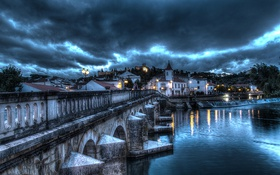 Картинка небо, облака, тучи, мост, огни, река, HDR