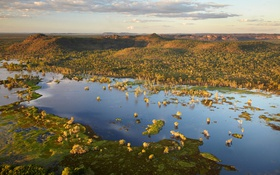Обои деревья, пейзаж, горы, озеро, Австралия, Национальный парк Какаду, Северная Территория