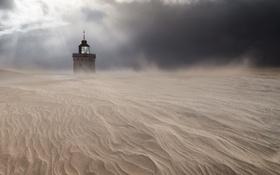Обои песок, пустыня, башня