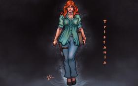 Обои tristania, anime, нож, девушка, рыжая, книга, art