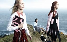 Обои Mica Arganaraz, Natalie Westling, Julia Nobis, Dior Fall Winter, 2015