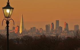 Обои фонарь, панорама, дома, башня, Лондон, Англия