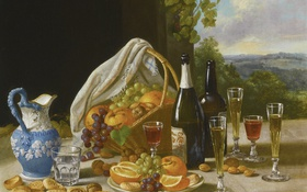 Обои стол, вино, корзина, кувшин, фрукты, John F. Francis