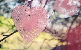 Обои ветки, сердце, салфетки