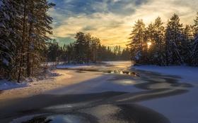 Обои зима, свет, река, утро