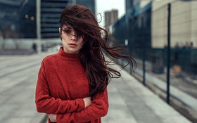 Картинка Девушка, Улица, Волосы, Москва, Красивая, Привлекательная, Venera Ray