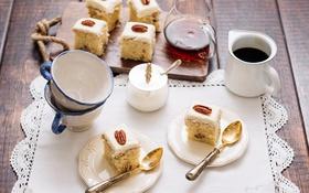 Обои чашки, выпечка, пирожные, бисквит, пекан