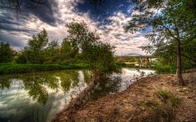 Картинка облака, деревья, мост, река, HDR, Испания, кусты