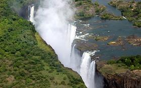 Обои тропики, река, обрыв, водопад, вид сверху, Victoria Falls, Zimbabwe