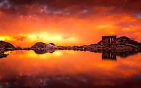 Обои облака, озеро, камни, скалы, зарево, домик