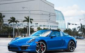 Обои 911, Porsche, порше, синяя, тарга, Targa 4S