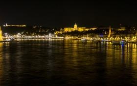 Обои ночь, огни, река, панорама, парламент, Венгрия, Будапешт