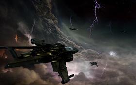Обои космос, полет, тучи, молнии, космические корабли