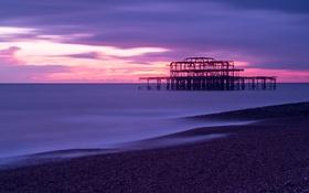 Обои небо, закат, тучи, пролив, побережье, Англия, вечер