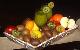 Обои яблоко, апельсин, киви, сок, фрукты, поднос, маракуйя