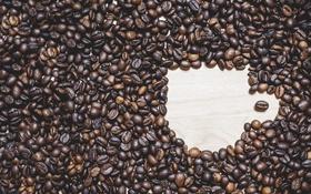 Обои стол, кофе, зерна, кружка, кофейные