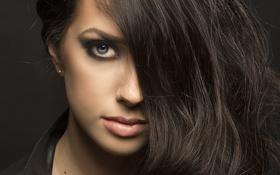 Картинка девушка, глаз, макияж, брюнетка