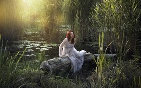 Картинка девушка, озеро, лето
