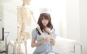 Картинка девушка, лицо, волосы, скелет, форма, больница