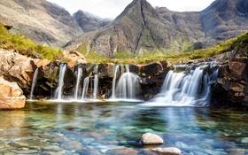 Обои горы, камни, скалы, вид, Шотландия, водопады, Highland