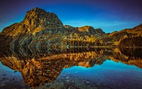 Картинка вода, деревья, озеро, отражение, камни, скалы, Норвегия