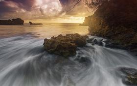 Картинка море, небо, пейзаж, берег, Бразилия
