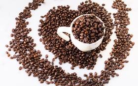 Обои зерна, кофе, чашка, сердце