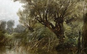 Обои деревья, пруд, картина, Пейзаж, Карлос де Хаэс