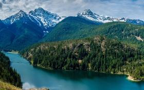 Картинка лес, небо, облака, деревья, горы, озеро, США
