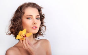 Картинка цветок, взгляд, девушка, желтый, макияж, прическа, белый фон