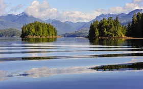 Обои лес, облака, деревья, горы, озеро, Канада, солнечно