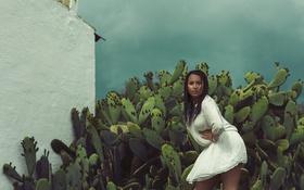 Обои взгляд, девушка, лицо, ветер, волосы, платье, кактусы
